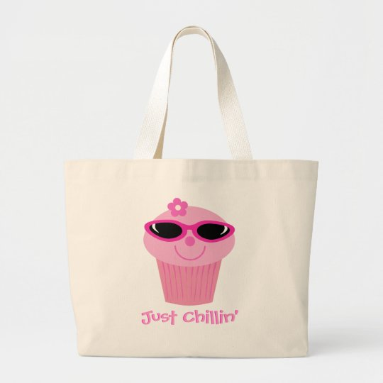 Cupcake With Sunglasses Just Chillin' Customisable Large Tote Bag