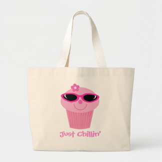 Cupcake With Sunglasses Just Chillin' Customizable Large Tote Bag