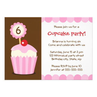 Cupcake with topper girls birthday party invite