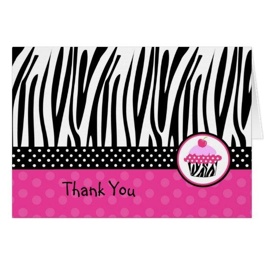 Cupcake Zebra print Folded Thank you note cards