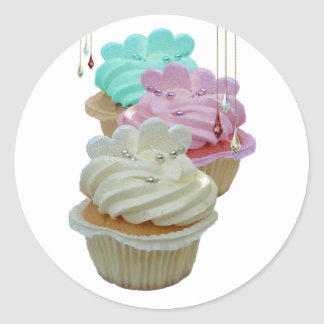 Cupcakes and beads classic round sticker