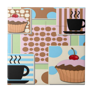Cupcakes and Coffee Small Square Tile