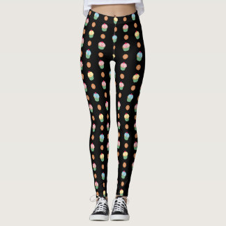 Cupcakes and cookies pattern (black background) leggings