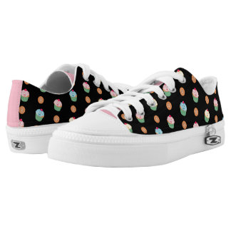 Cupcakes and cookies pattern (black) printed shoes