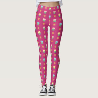 Cupcakes and cookies pattern (fuchsia background) leggings