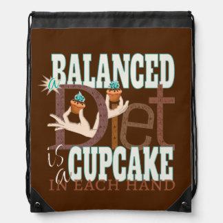 Cupcakes Balanced Diet - Healthy Eating Humor Drawstring Backpack