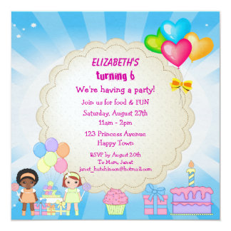 Cupcakes & Balloons Birthday Party Invites