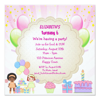 Cupcakes & Balloons Pink Birthday Party Invites