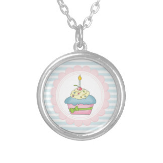 Cupcakes Blue Stripes with Pink Necklace