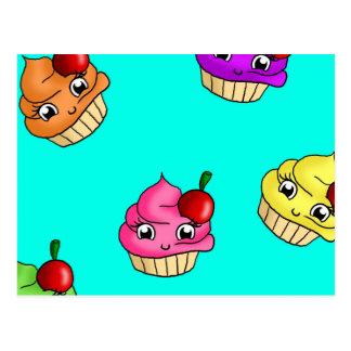 Cupcakes cherries postcards