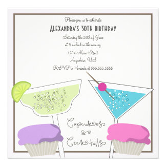 Cupcakes Cocktails Birthday Invitation