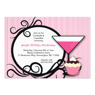 Cupcakes Cocktails Birthday Party Invite