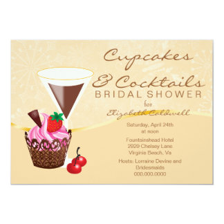 Cupcakes & Cocktails Bridal Shower Invitation