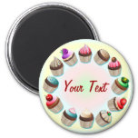 Cupcakes Colourful Circle Magnet