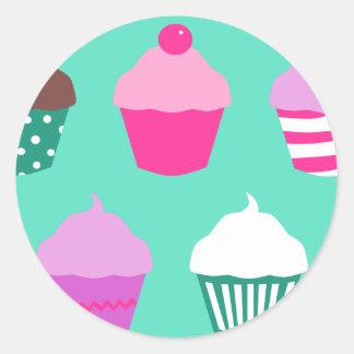 Cupcakes design round sticker