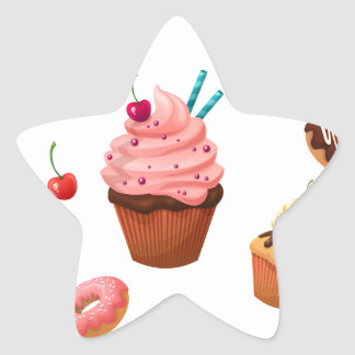 Cupcakes Donuts Star Sticker