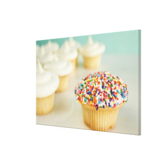Cupcakes, focus on one in front with stretched canvas print