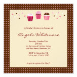 Cupcakes in Pink, Brown and Cream Personalized Invitation