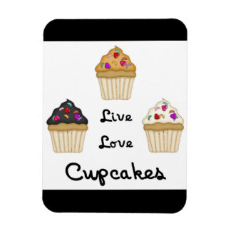 Cupcakes Live Love Rectangle Magnets