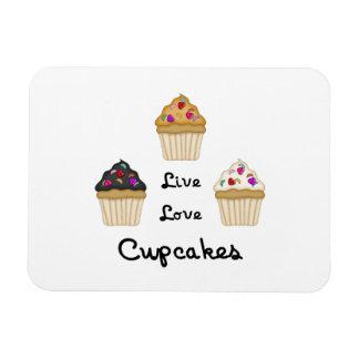 Cupcakes Live Love Rectangular Magnets
