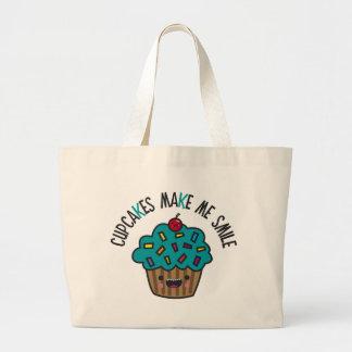 Cupcakes Make Me Smile Canvas Bags