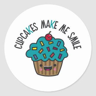 Cupcakes Make Me Smile Round Sticker