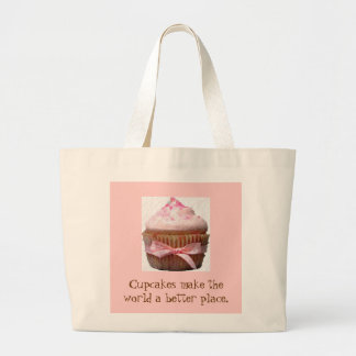 Cupcakes make the world a better place jumbo tote bag
