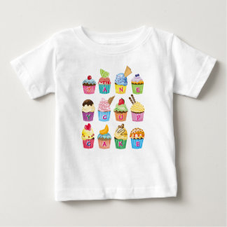 Cupcakes Monogram Delicious Sweet Baked Goodies Baby T-Shirt