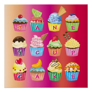 Cupcakes Monogram Delicious Sweet Baked Goodies Poster