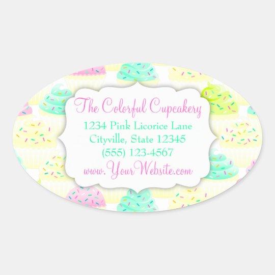 Cupcakes N Sprinkles Custom Oval Sticker