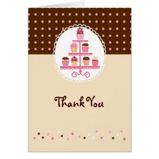 Cupcakes on a Stand (Brown/Cream) Card
