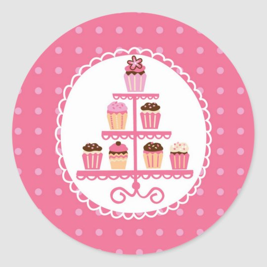 Cupcakes On A Stand Seal Sticker