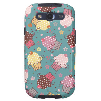 Cupcakes on Blue Galaxy S3 Cover