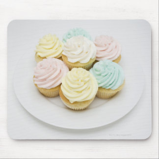 Cupcakes on White Plate Mouse Mat