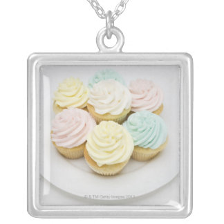 Cupcakes on White Plate Silver Plated Necklace