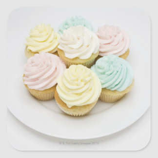 Cupcakes on White Plate Square Sticker