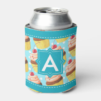 Cupcakes & Polka Dots Party Monogram Personalized Can Cooler