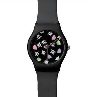 Cupcakes & Skulls Emo Kawaii Pattern Watch
