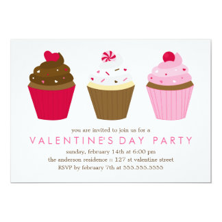 Cupcakes Valentines Day Party 13 Cm X 18 Cm Invitation Card