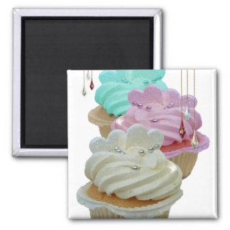 Cupcakes with Bling! Square Magnet