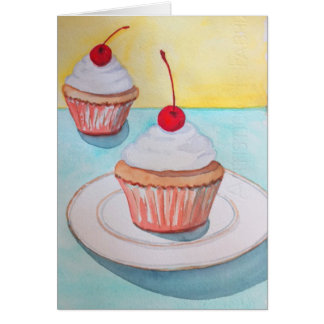 Cupcakes with Cherry on Top Greeting Card