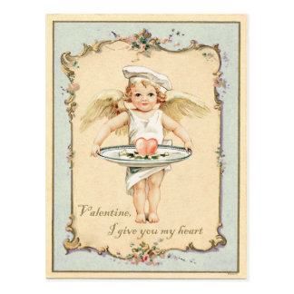 Cupid Angel Heart Vintage Reproduction Postcard