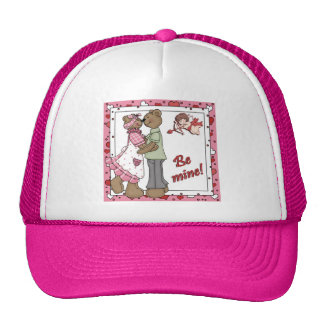 Cupid Be Mine Valentine Bears Trucker Hats