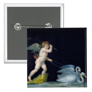 Cupid being led by a pair of swans (oil on panel) 15 cm square badge