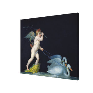Cupid being led by a pair of swans (oil on panel) canvas print