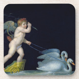 Cupid being led by a pair of swans (oil on panel) coaster