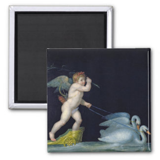 Cupid being led by a pair of swans (oil on panel) magnet