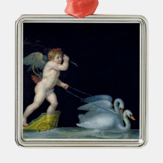 Cupid being led by a pair of swans (oil on panel) Silver-Colored square decoration
