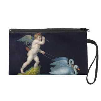 Cupid being led by a pair of swans (oil on panel) wristlet
