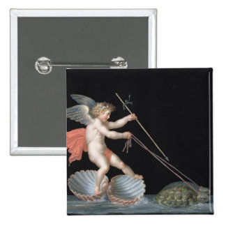 Cupid being led by Tortoises (oil on panel) 15 Cm Square Badge